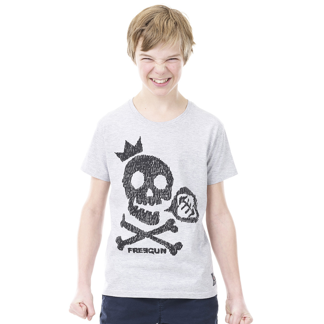 T-shirt freegun skull gris et noir (photo)