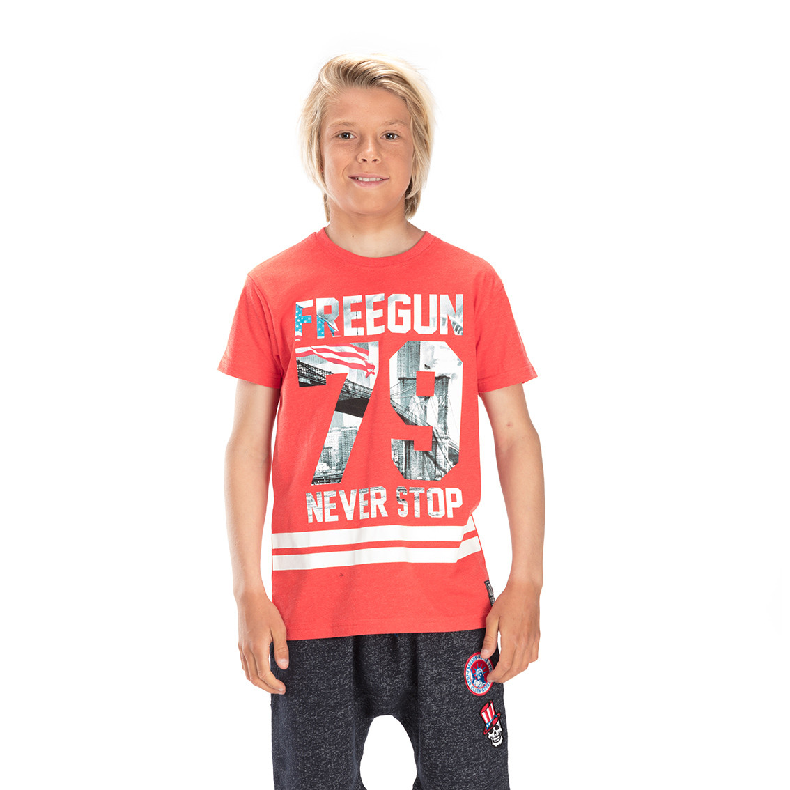 T-shirt freegun 79 rouge et blanc (photo)