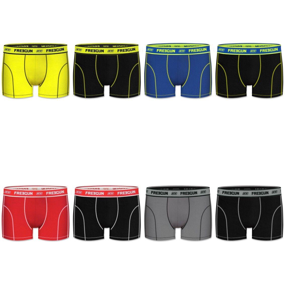 Lot de 8 boxers freegun homme aktiv uni (photo)