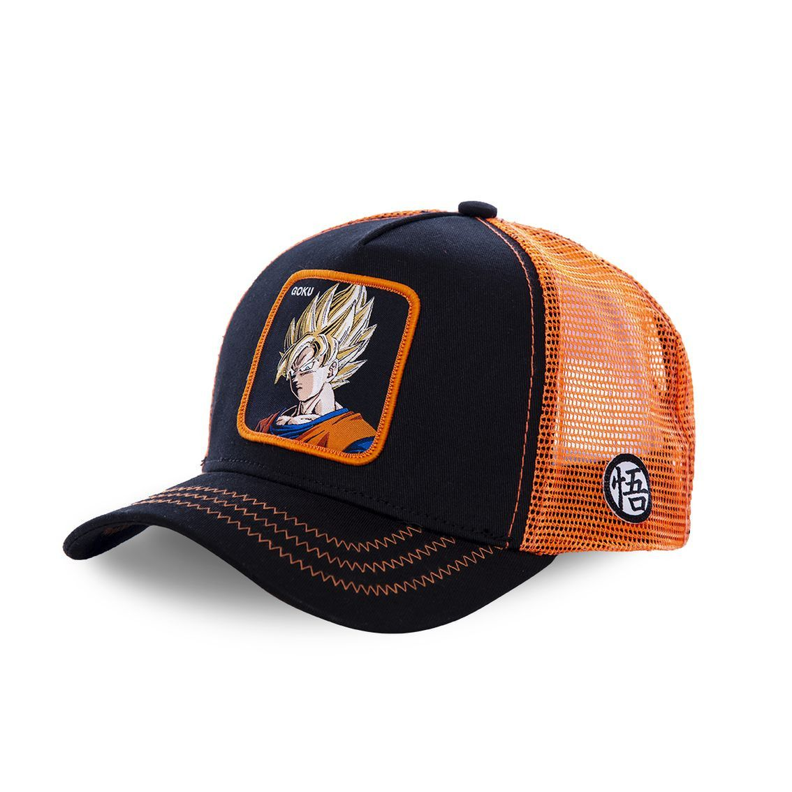 Casquette capslab dragon ball z goku saiyen noir et orange (photo)
