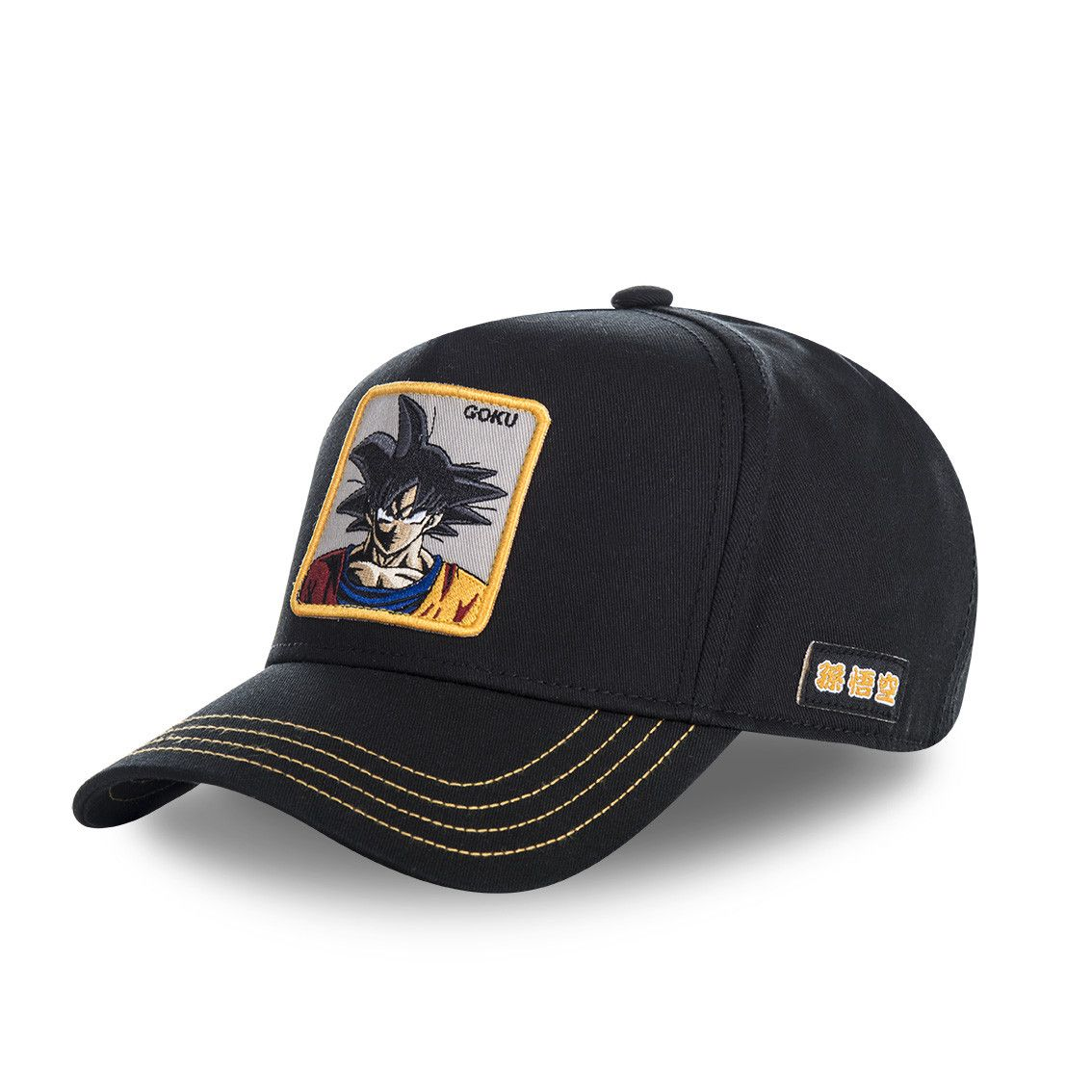 Casquette capslab dragon ball z goku noir filet jaune (photo)