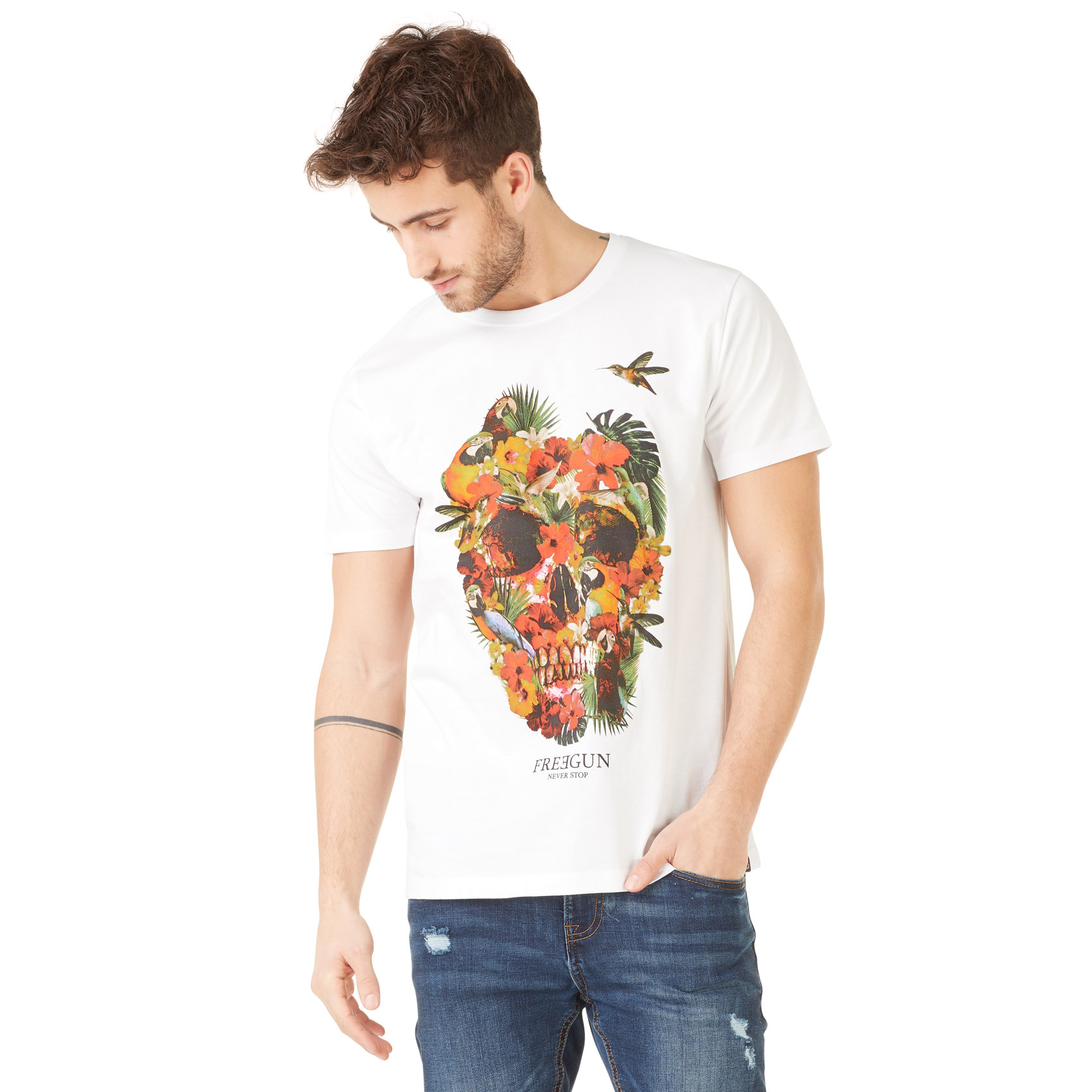 T-shirt homme freegun flowers blanc (photo)