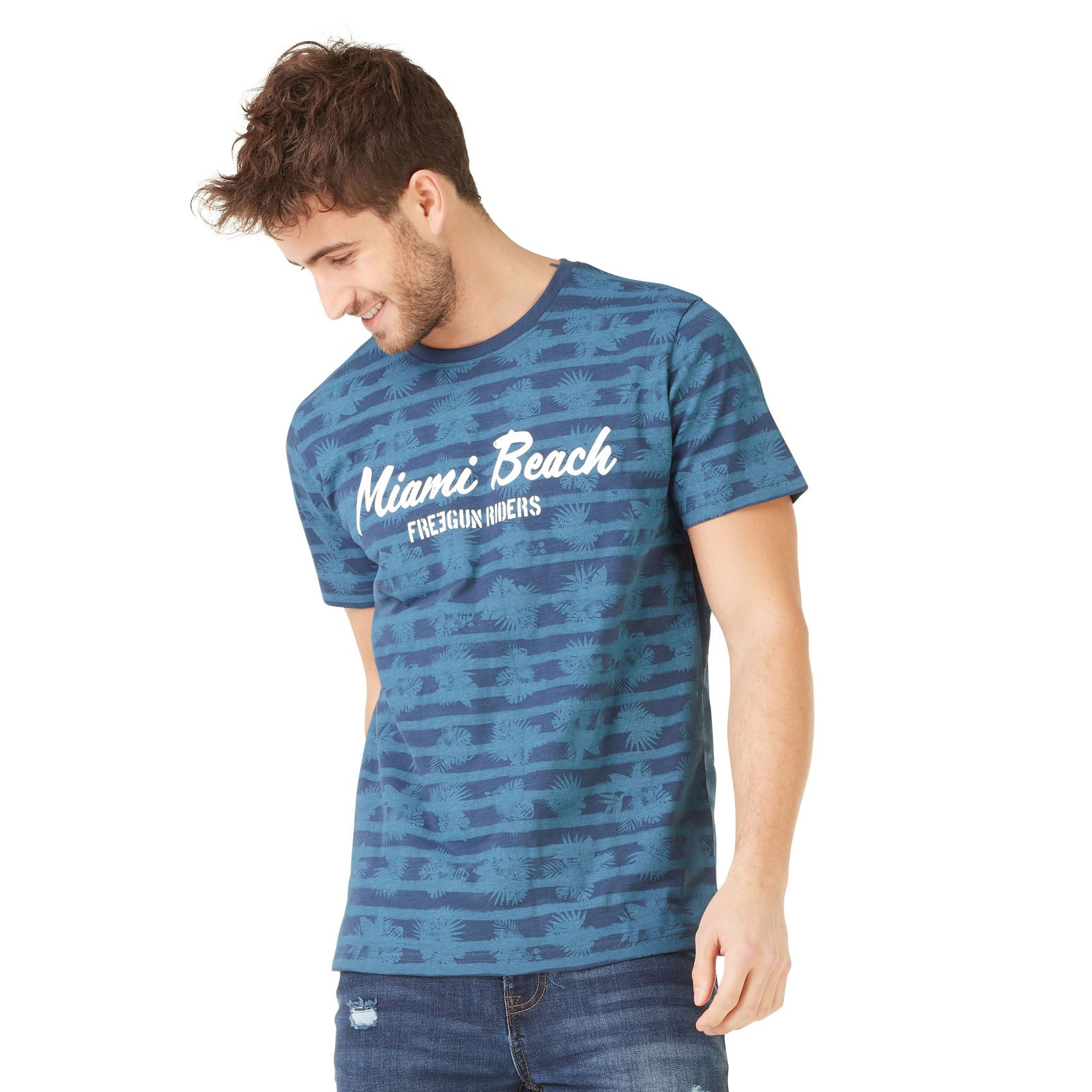T-shirt homme freegun miami bleu (photo)