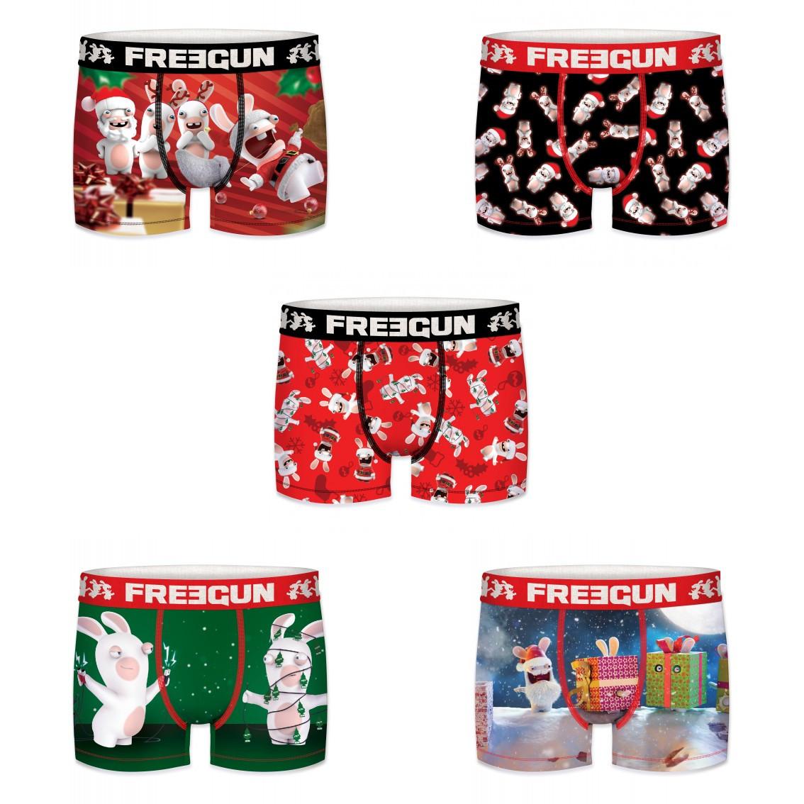 Lot de 5 boxers homme freegun lapins crétins christmas multicolore (photo)