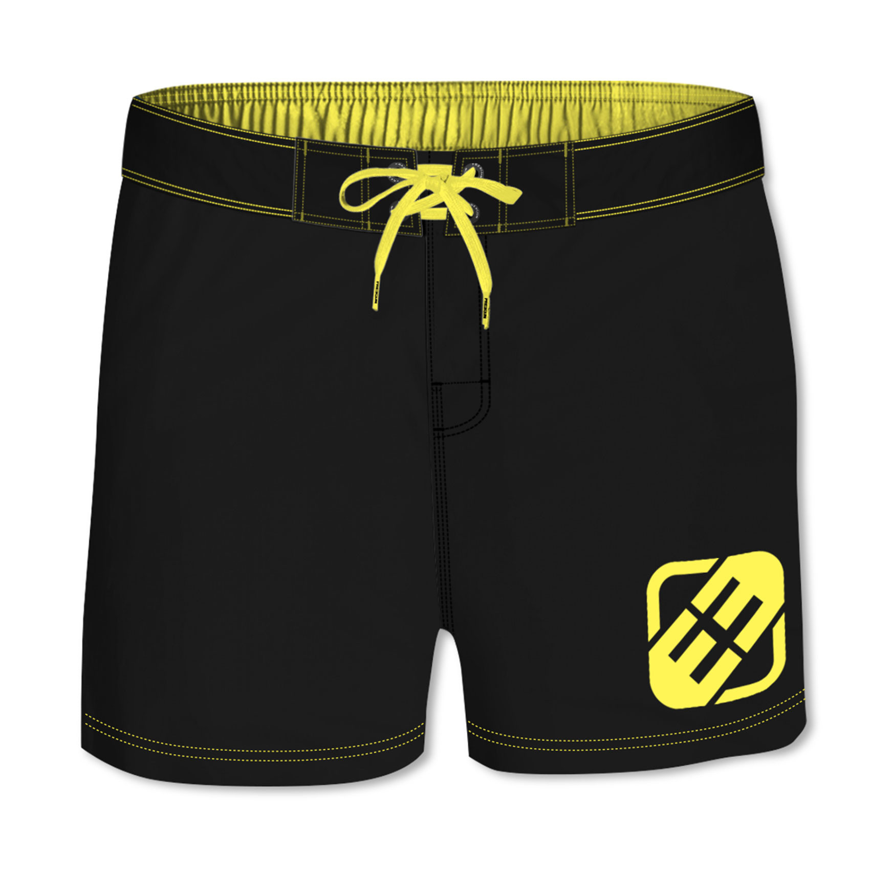Boardshort court homme freegun uni jaune (photo)
