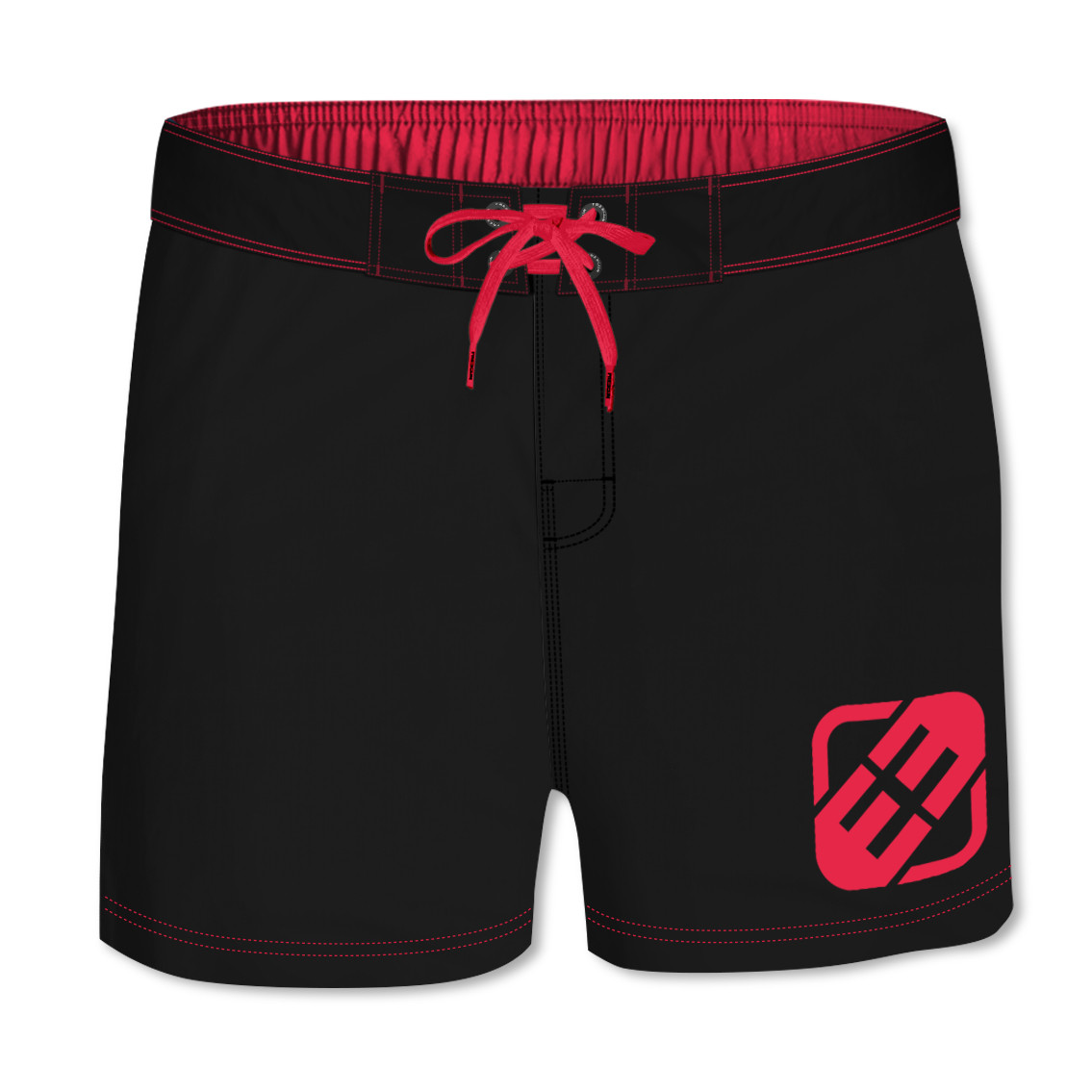 Boardshort court homme freegun uni rouge (photo)