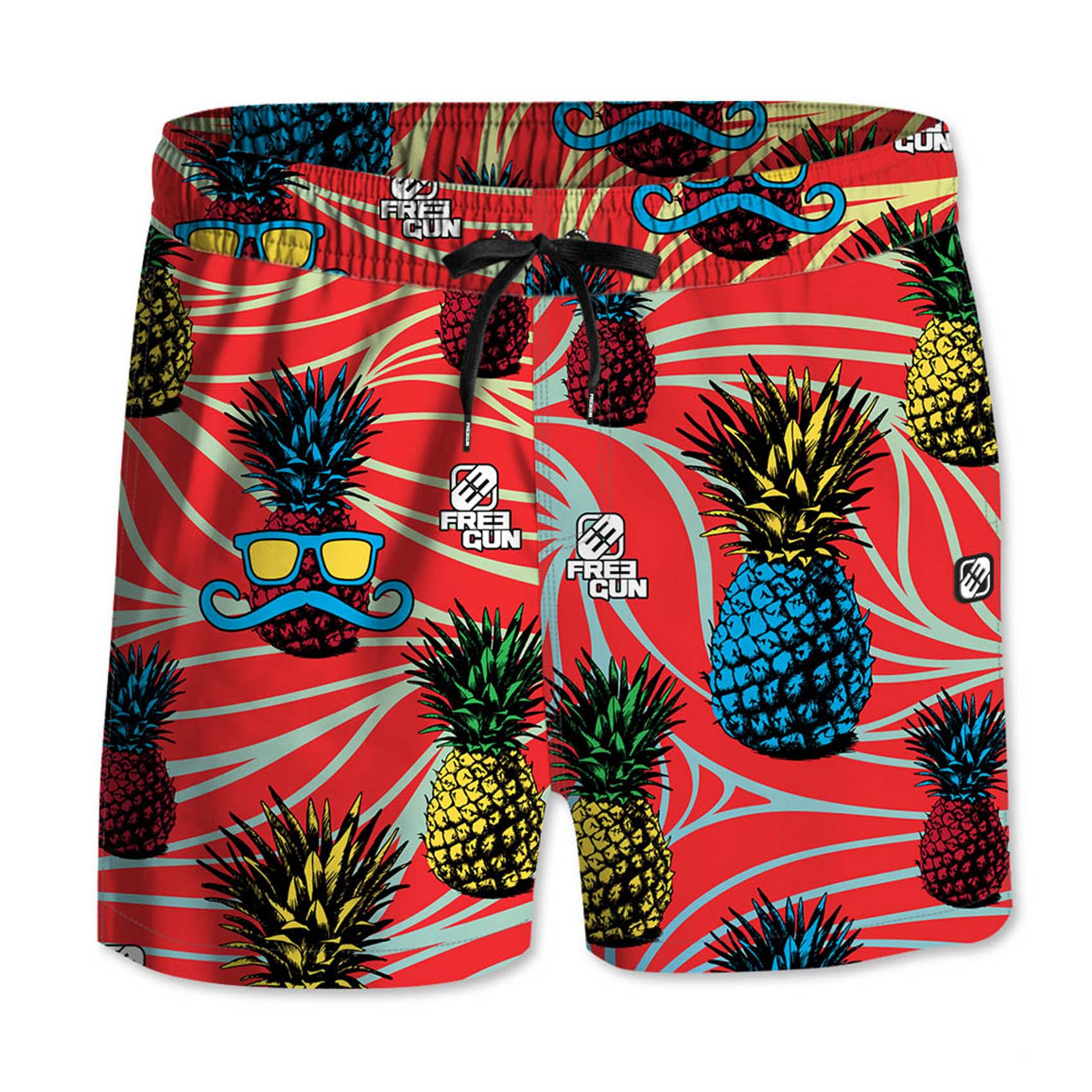 Boardshort court garçon freegun ananas rouge (photo)