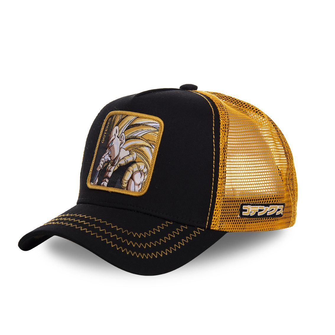 Casquette capslab dragon ball z goku super saiyen noir et orange (photo)