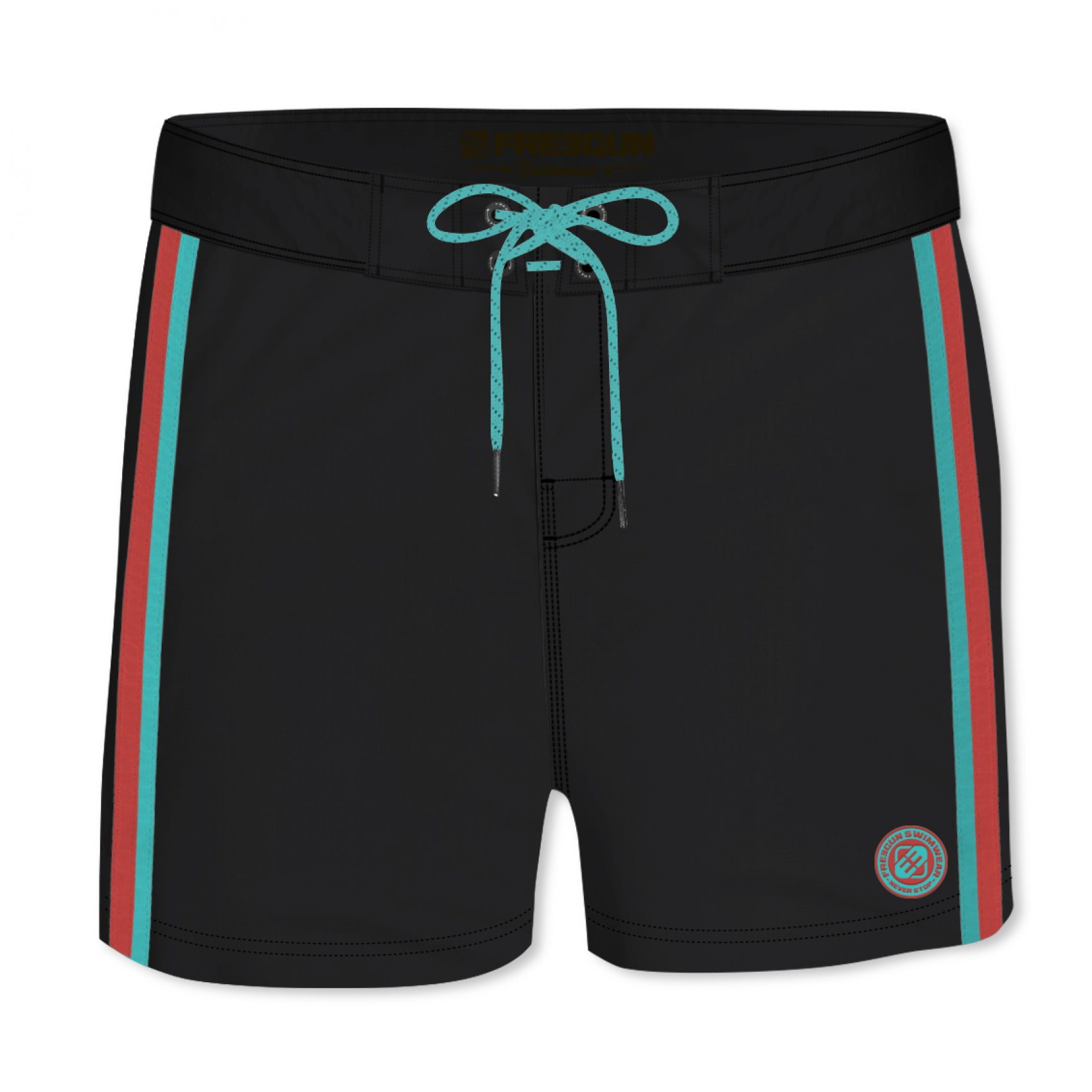 Boardshort court homme freegun band uni noir (photo)