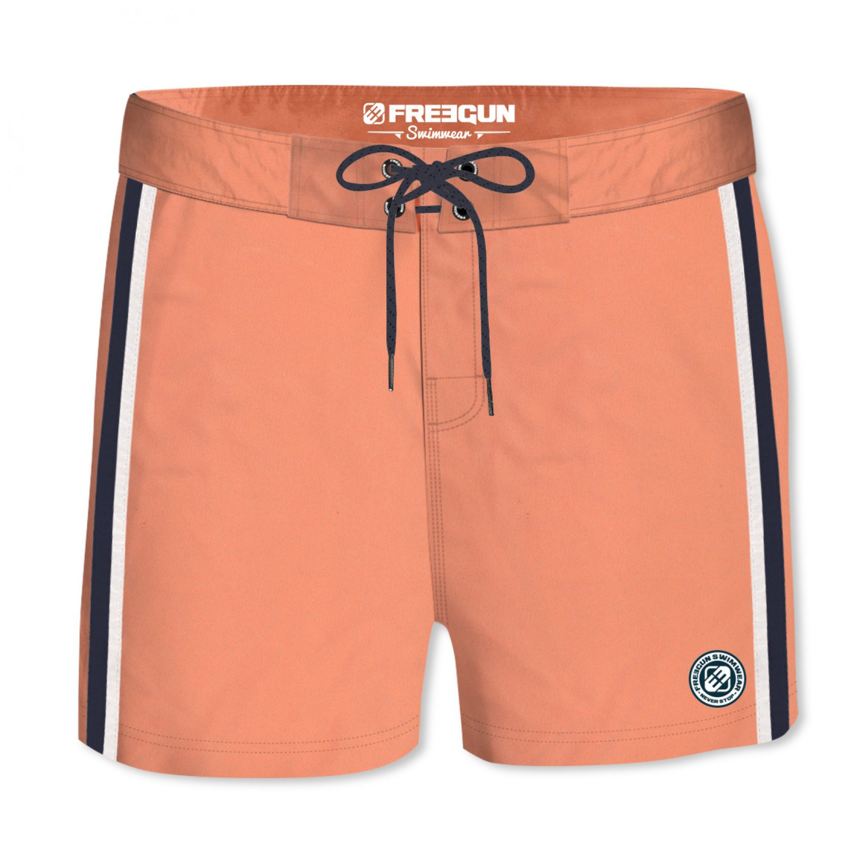 Boardshort court homme freegun band uni orange (photo)