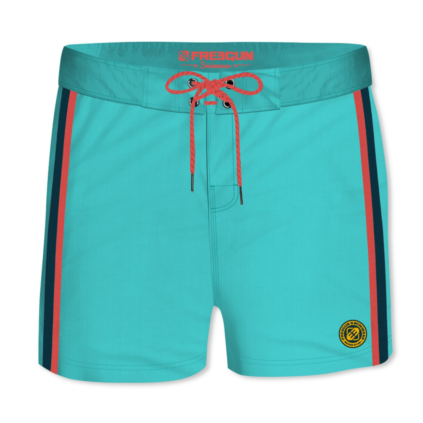 Boardshort court homme freegun band uni turquoise (photo)