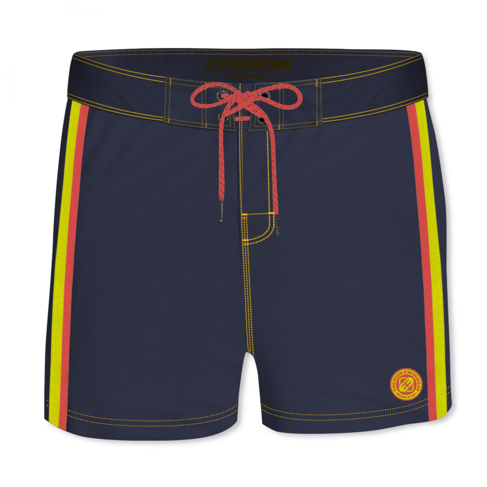 Boardshort court homme freegun band uni bleu (photo)