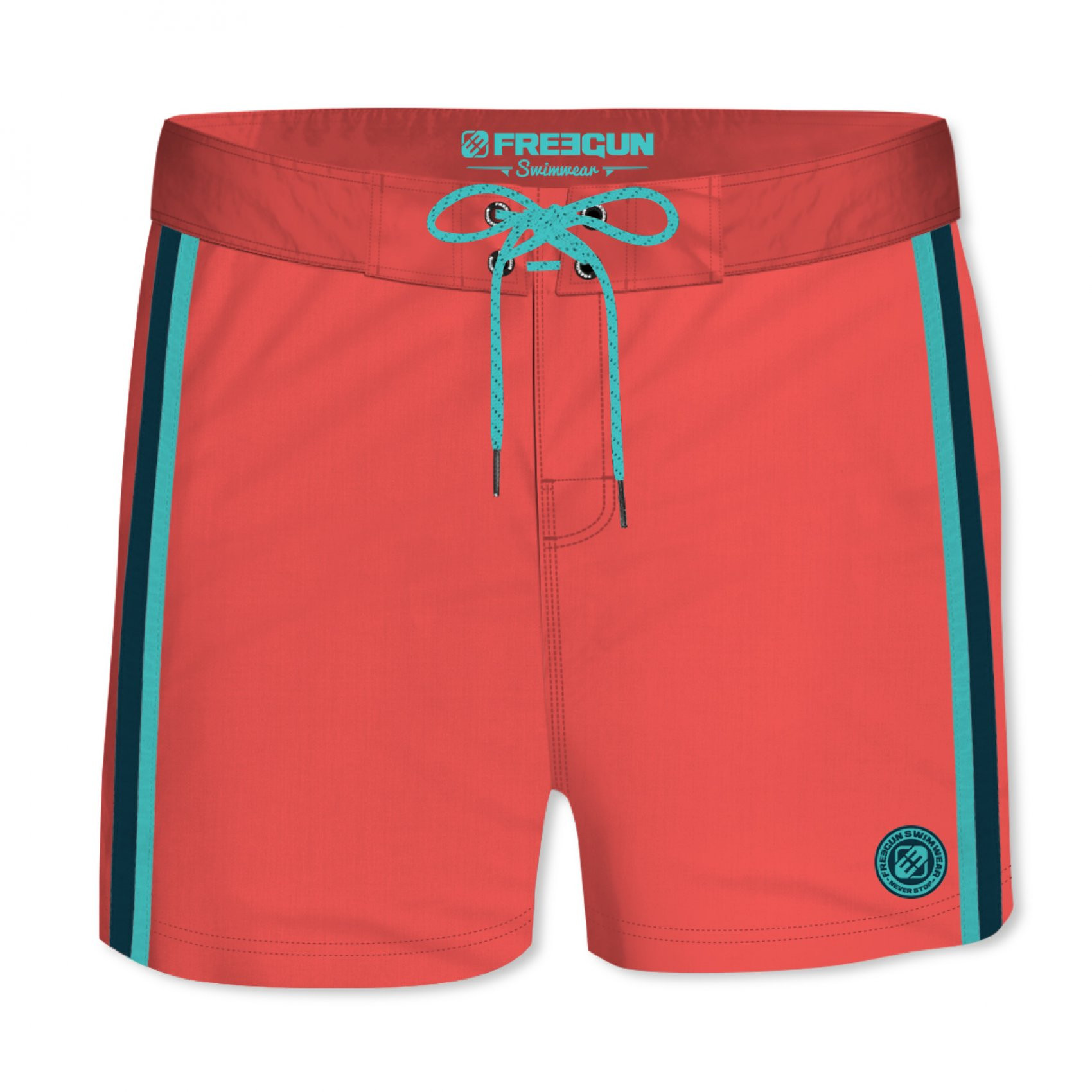 Boardshort court homme freegun band uni rouge (photo)