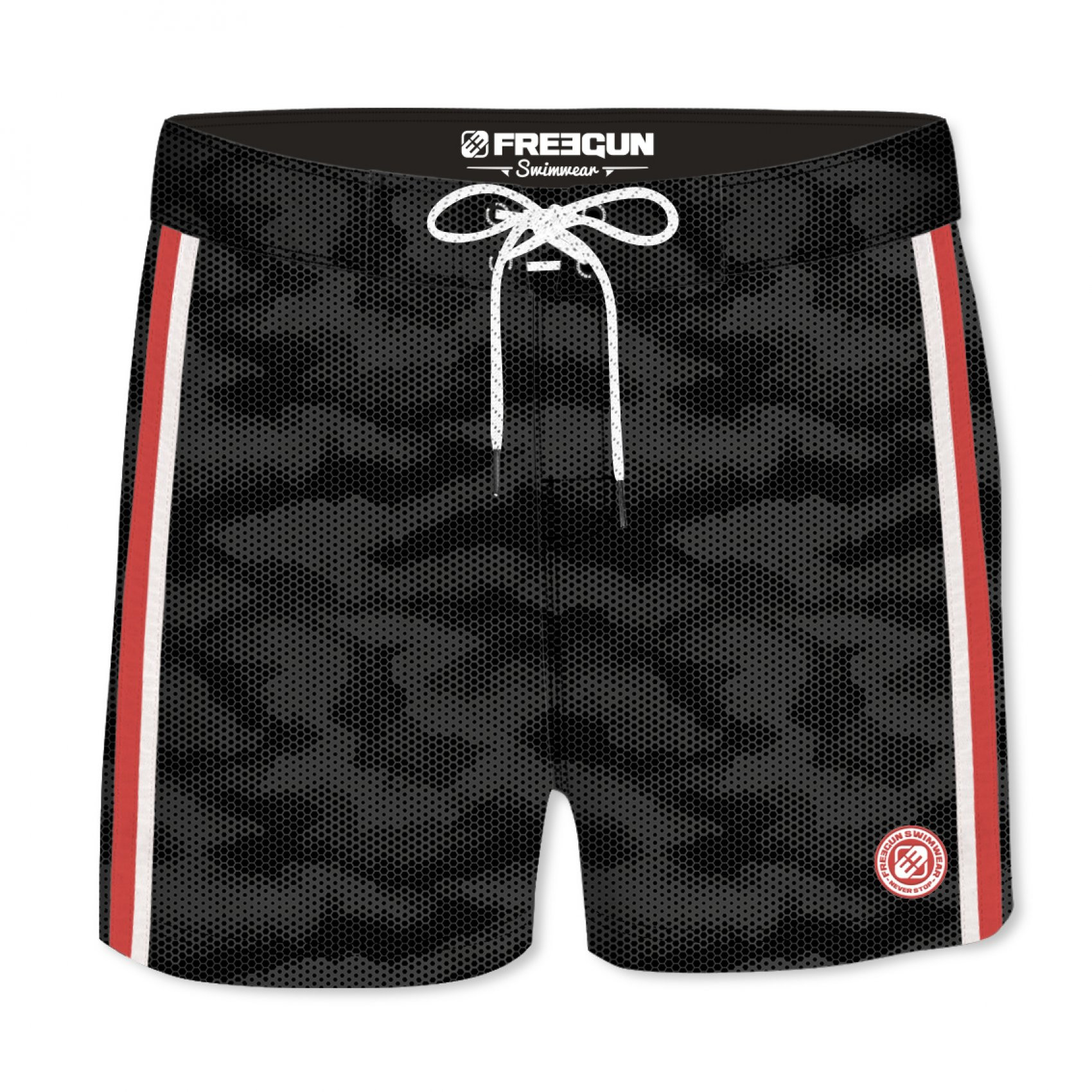 Boardshort court homme freegun hex uni noir (photo)