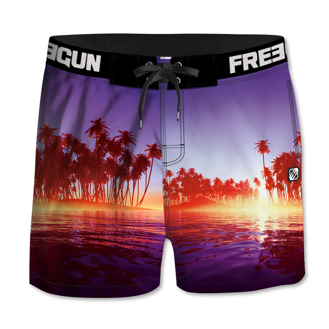 Boardshort court homme freegun palmiers multicolore (photo)
