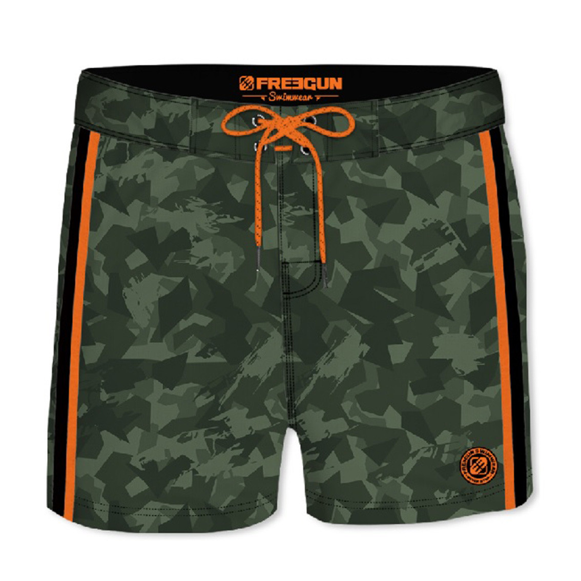 Boardshort court homme freegun camouflage vert (photo)