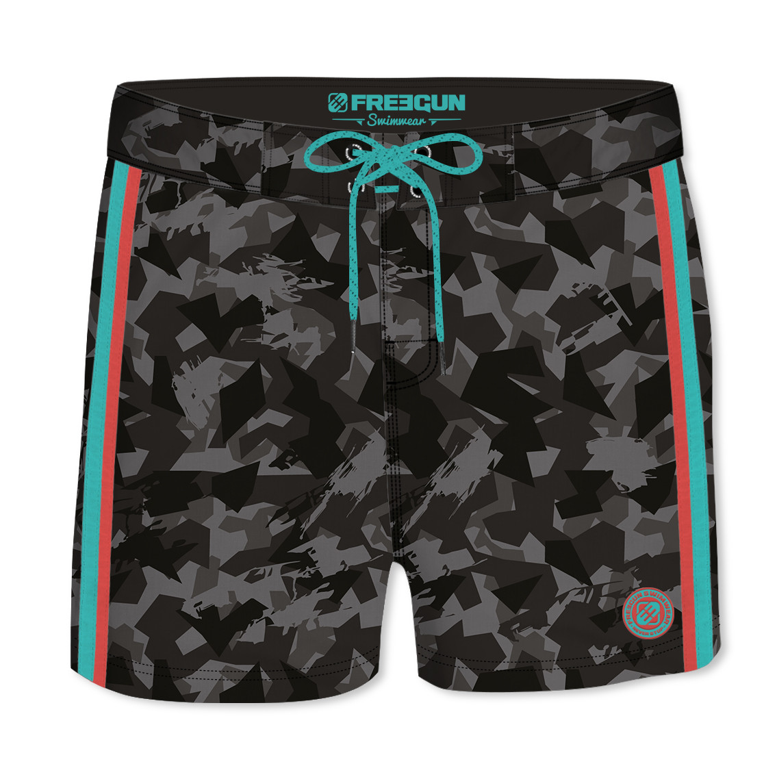 Boardshort court homme freegun camouflage noir (photo)