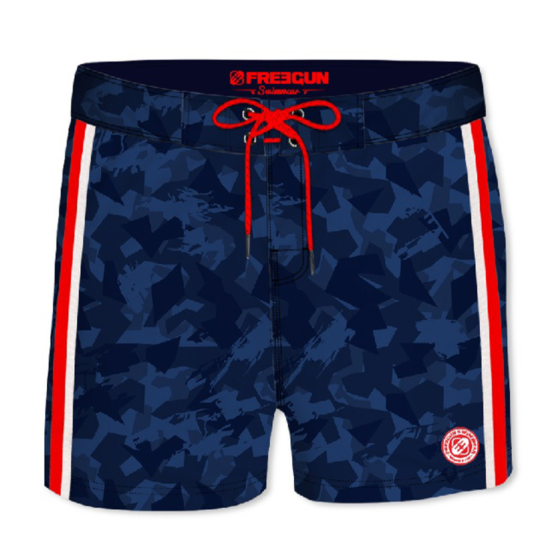 Boardshort court homme freegun camouflage rouge (photo)