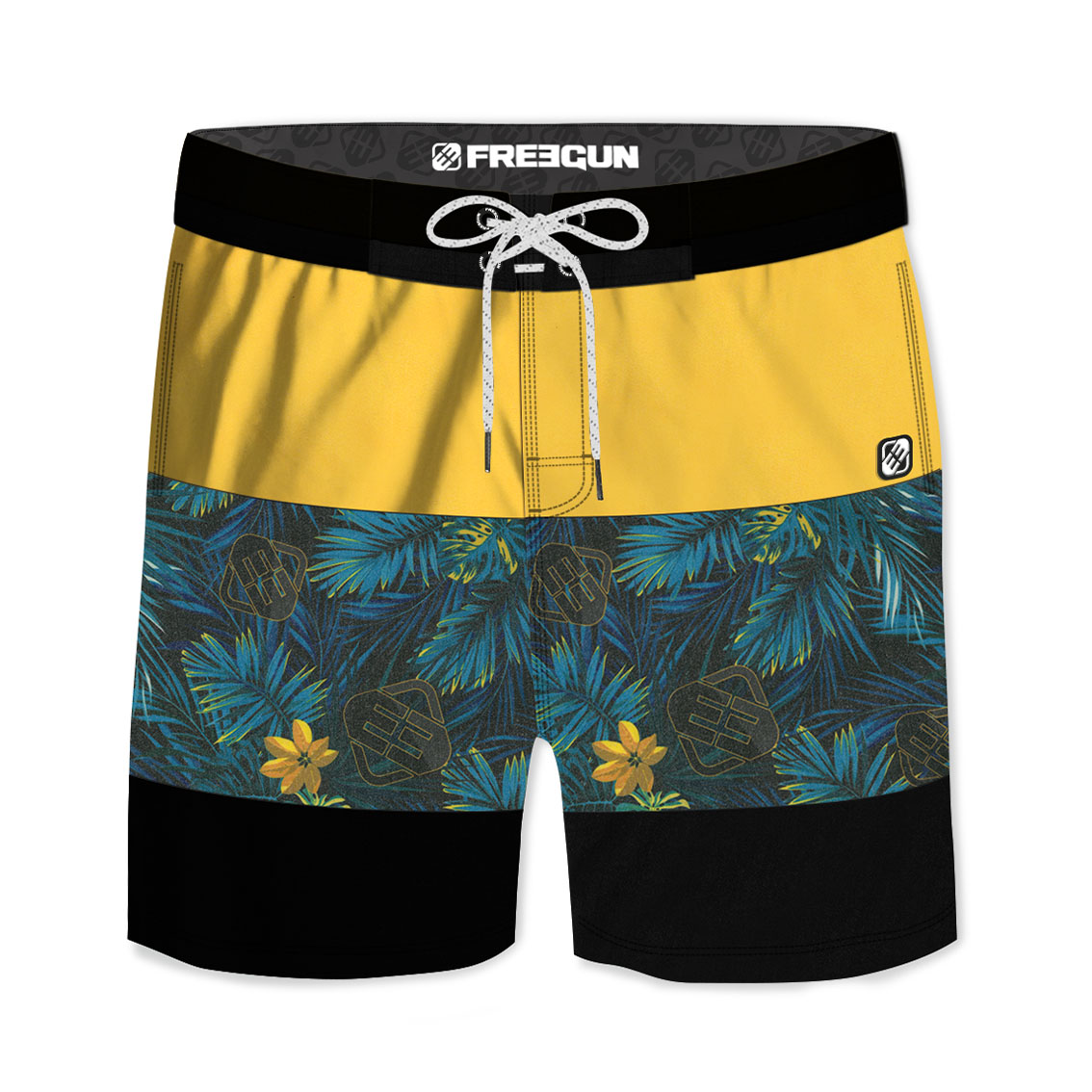 Boardshort court homme freegun ibis jaune (photo)