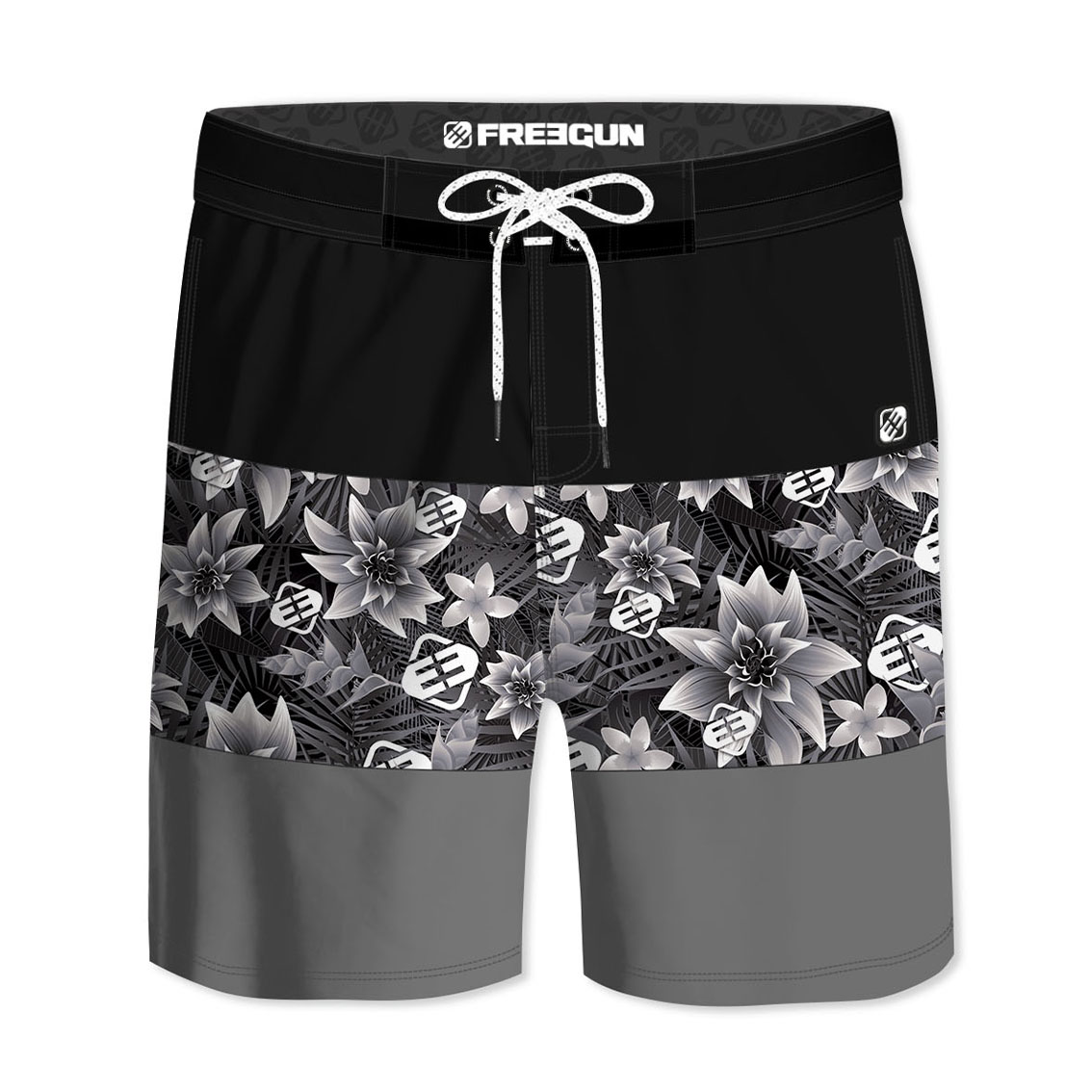 Boardshort court homme freegun ibis noir (photo)