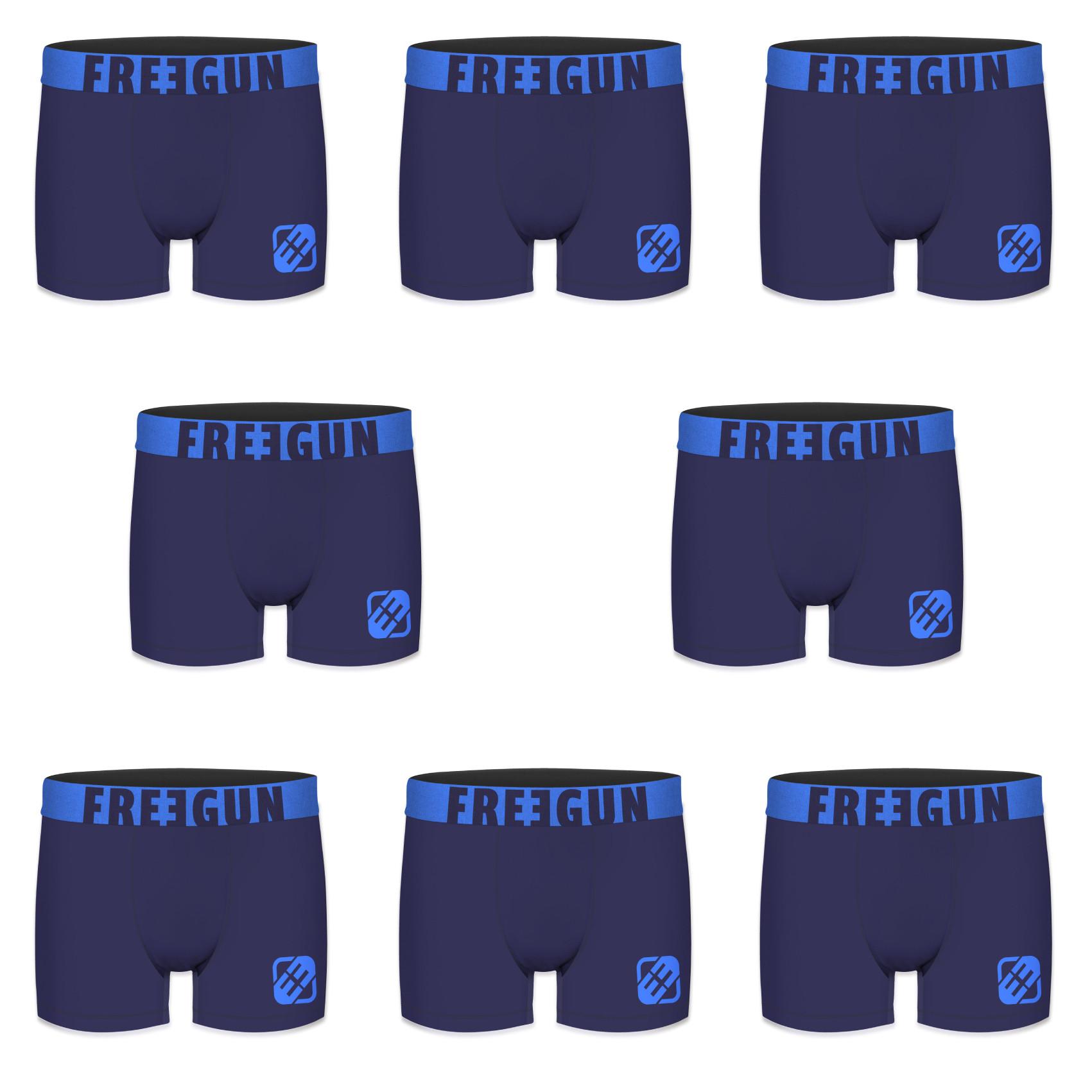 Lot de 8 boxers freegun homme bleu