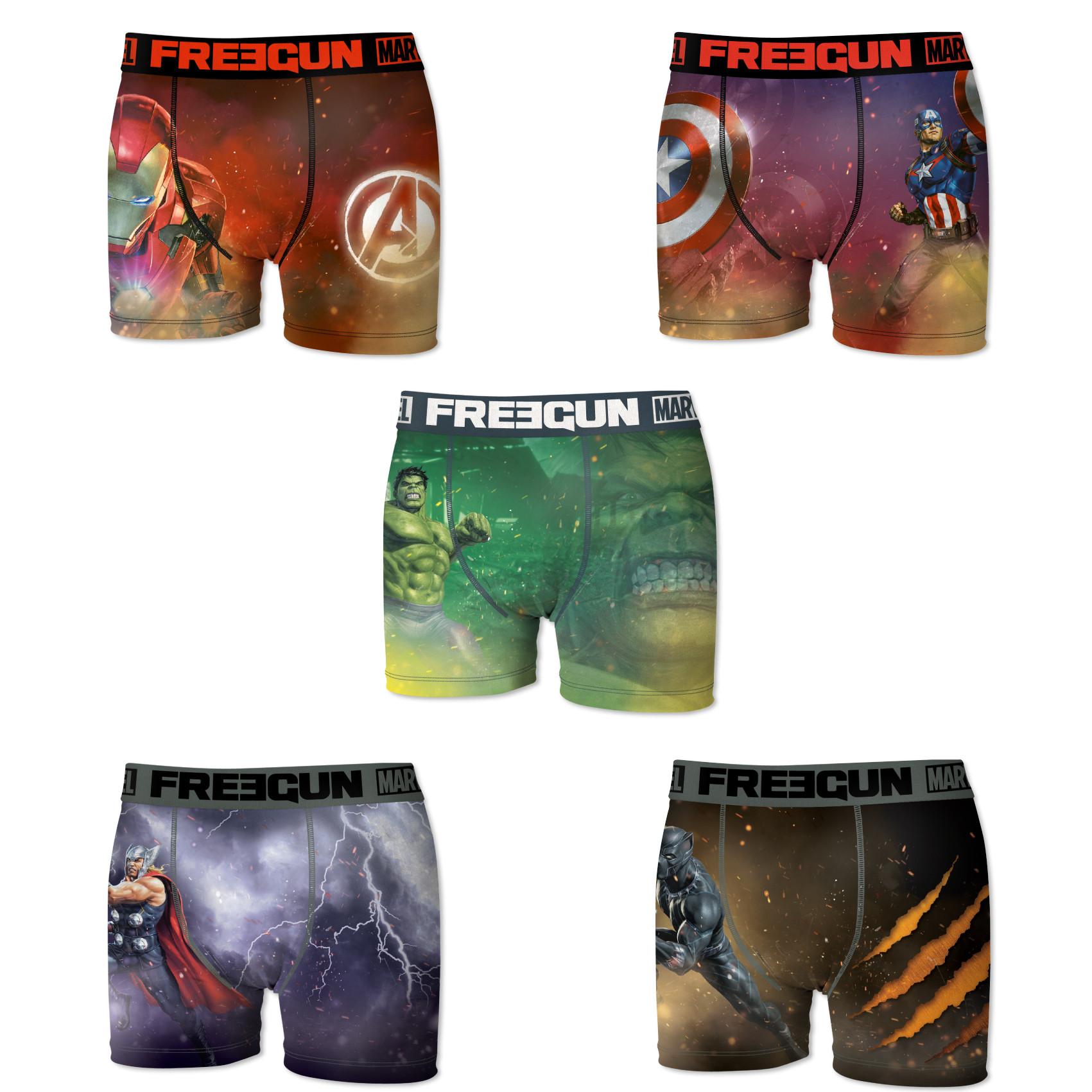 Boxers hommme microfibre packx5 freegun marvel e1 (photo)
