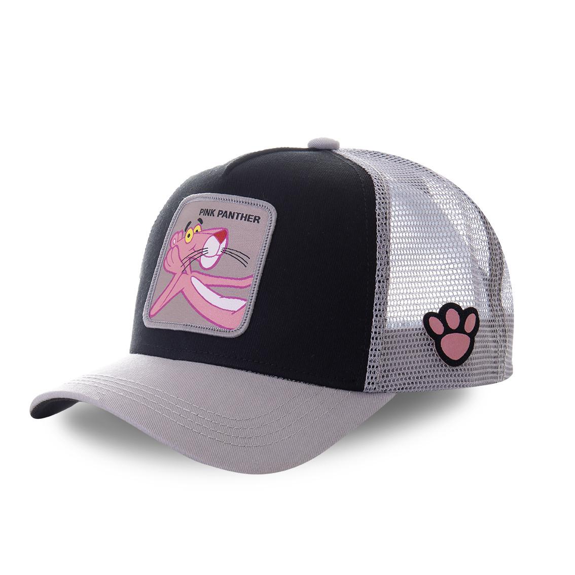 Casquette truckercapslab pink panther noir et gris