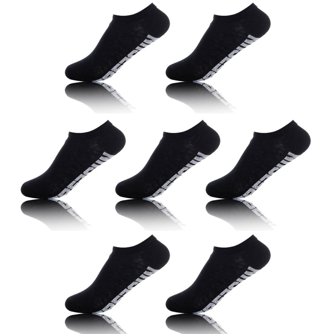 Lot de 7 paires de chaussettes homme tige courte uni noires (photo)