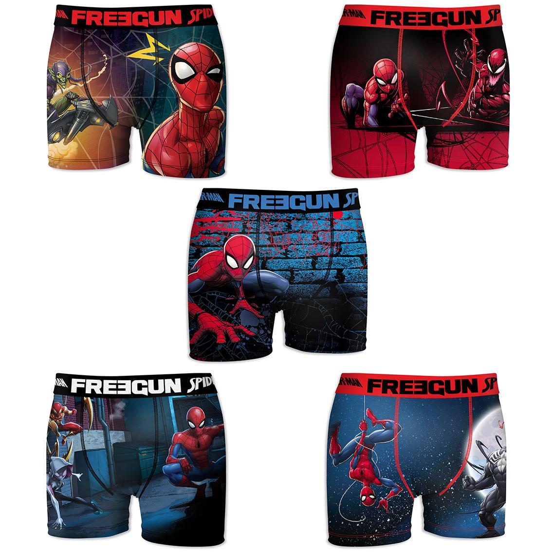 Lot de 5 boxers freegun homme spider man savior