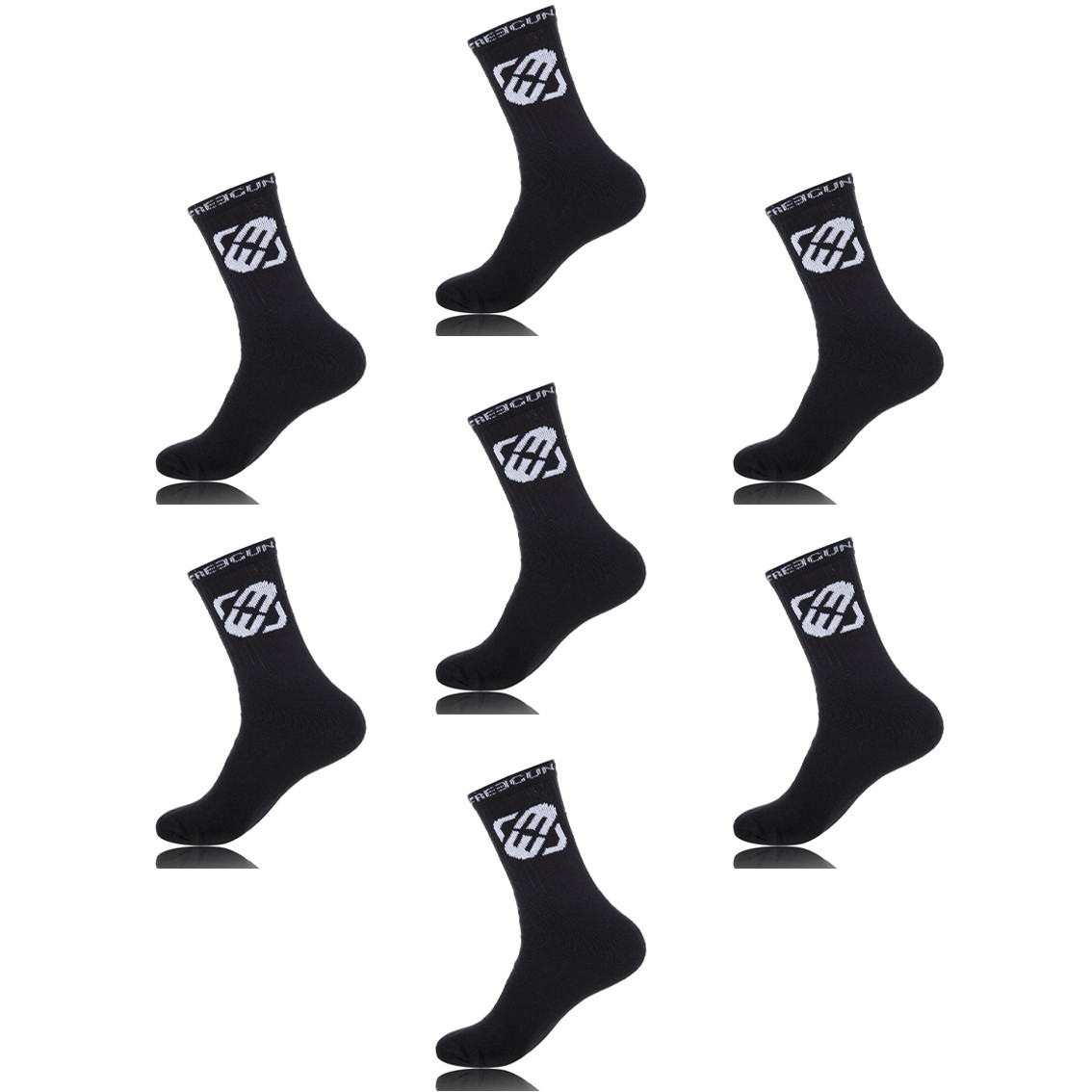 Lot de 7 paires de chaussettes tennis homme freegun noir (photo)