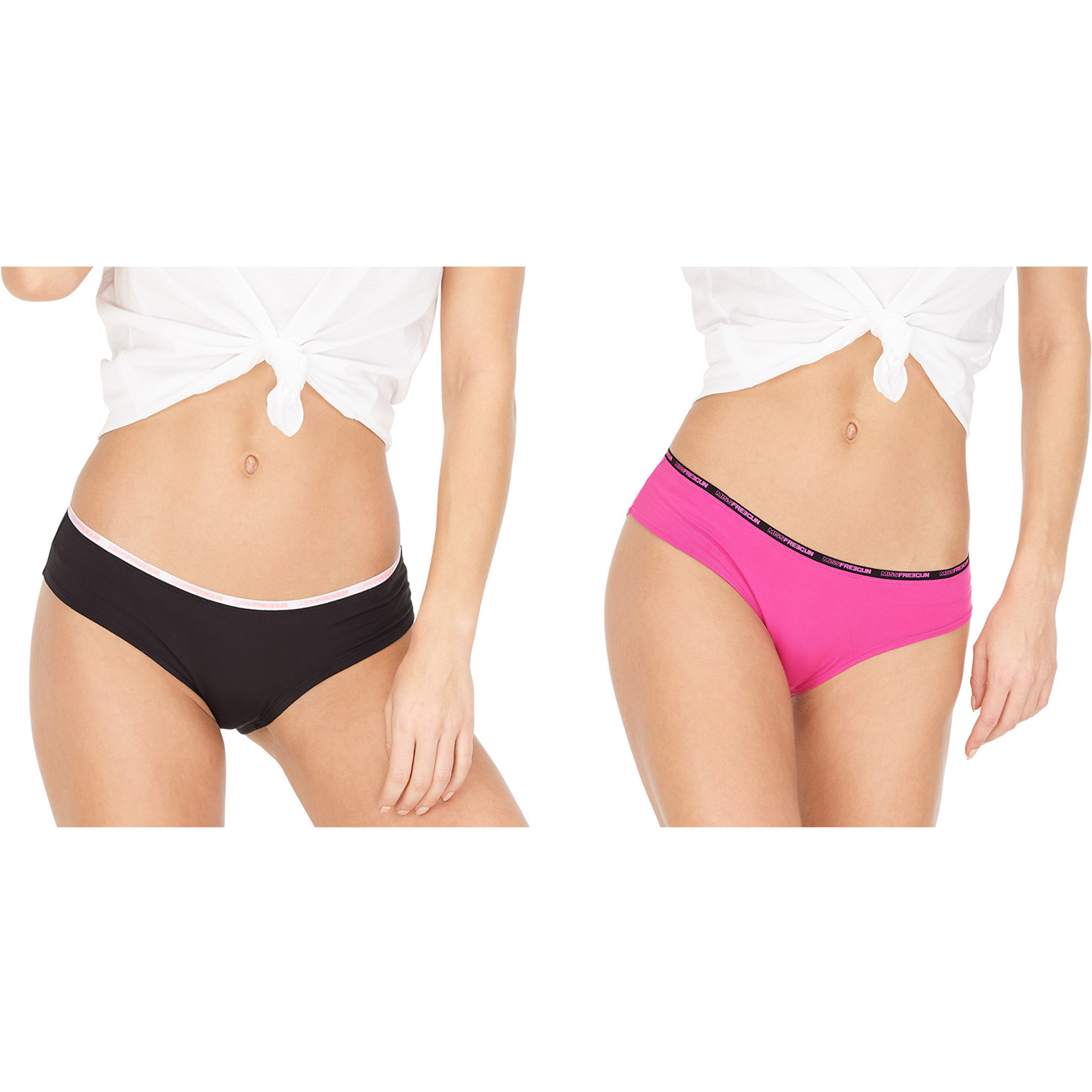 Lot de 2 boxers femme miss freegun noir et rose (photo)