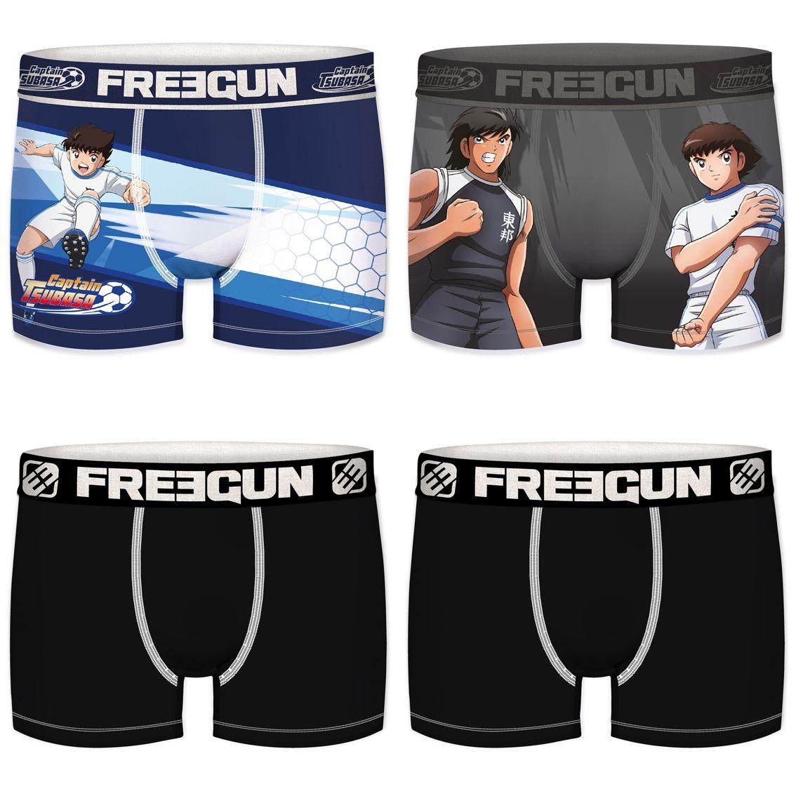 Lot de 4 boxers freegun homme captain tsubasa et kojiro