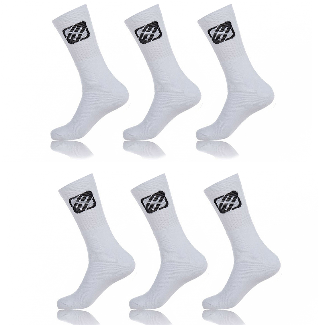 Lot de 6 paires de chaussettes tennis freegun garçon blanc (photo)