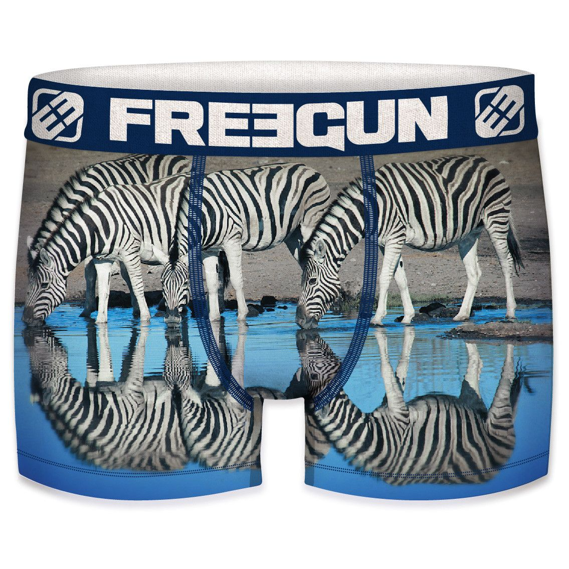 Boxer freegun polyester recyclé homme zebre (photo)